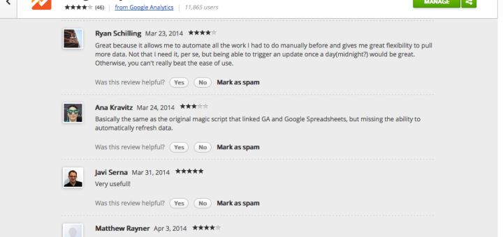Google Analytics Spreadsheet Add-on Reviews